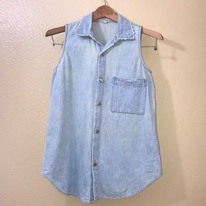 Guess Button Up Sleeveless Denim Shirt